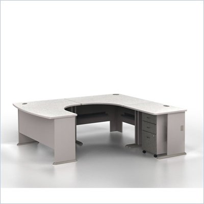 Bush Series A Right-Facing U-Shaped Desk Bundle in Pewter