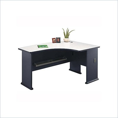 Bush Series A Right Corner L-Shape Bow Front Wood Desk in Slate