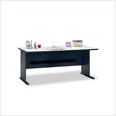"Bush Series A 72"" Wood Credenza Desk in Slate White Spectrum"