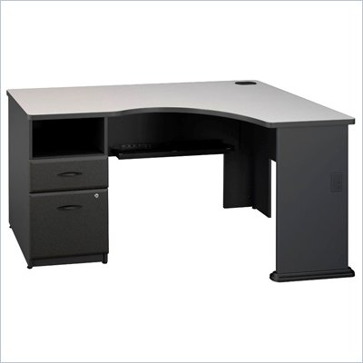 Bush Series A Expandable Single Pedestal Corner Desk in Slate