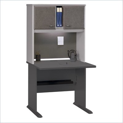 Bush Advantage Series Computer Desk with Hutch in White Spectrum and Pewter Finish