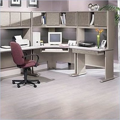 Bush Series A Corner Wood Cubicle Set in White Spectrum and Pewter