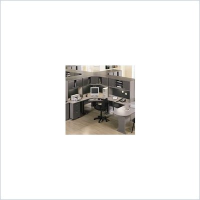 Bush Advantage Office Cubicle in White Spectrum and Pewter
