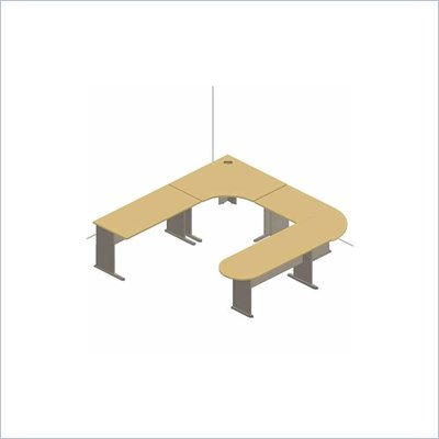 Bush Series A White Spectrum and Pewter Advantage U-Shaped Desk