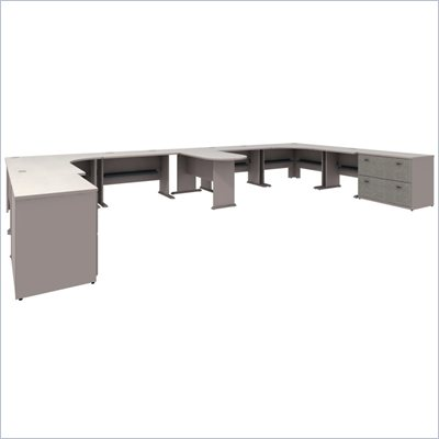 Bush White Spectrum and Pewter Advantage Series L-Shape Desk Suite