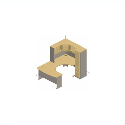 Bush White Spectrum and Pewter Advantage Series U-Shaped Corner Cubicle with Storage Cabinet