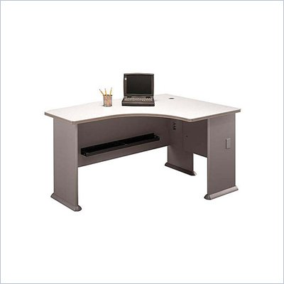 Bush WC14522 Series A White Spectrum and Pewter Right L-Bow Desk
