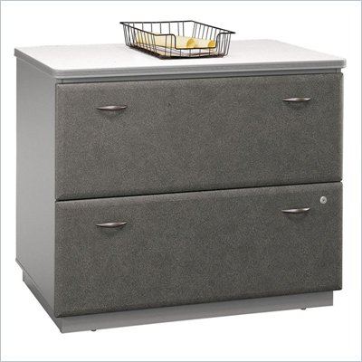 Bush Series A 2 Drawer Lateral Wood File Storage Cabinet in White Spectrum and Pewter