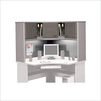 Bush Series A Wood Corner Hutch in White Spectrum and Pewter