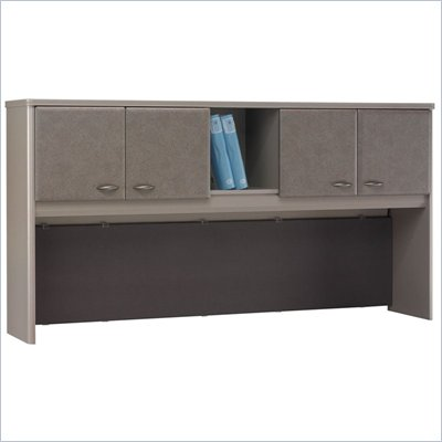 Bush Series A 72&quot; Wood Hutch in White Spectrum and Pewter