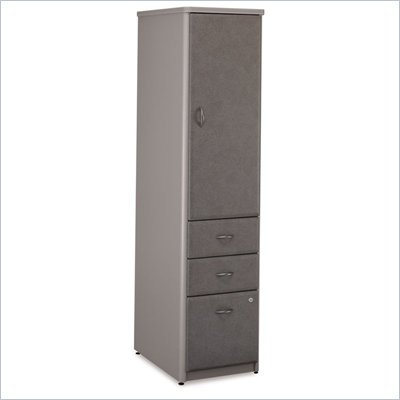 Bush Series A Vertical Wood Storage Locker in White Spectrum & Pewter