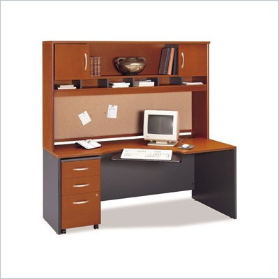 Bush Wood Home Office Computer Desk Set with Hutch in Auburn Maple