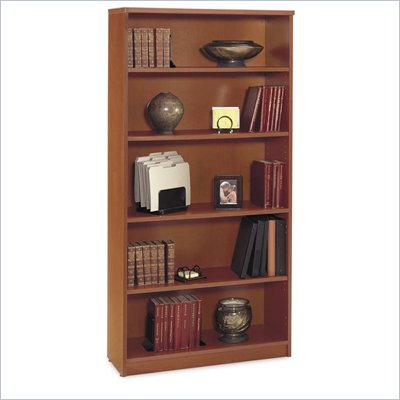 Bush Series C Open Double 5 Shelf Wood Bookcase in Auburn Maple