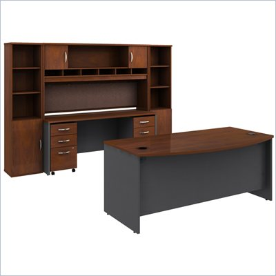 Bush Hansen Cherry Corsa Series Executive Desk with Credenza and 2 Storage Cabinets