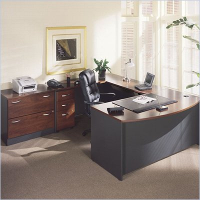 Bush Hansen Cherry Corsa L-Shaped Desk with Storage