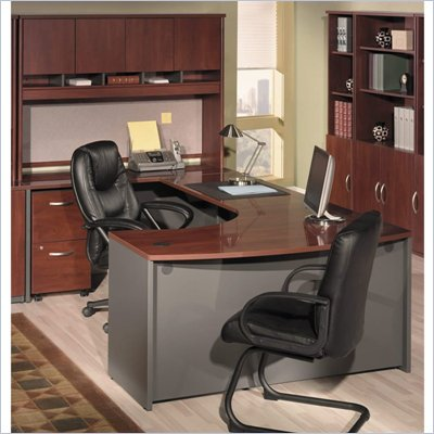 Bush Hansen Cherry Corsa Series U-Shaped Office Set with Hutch