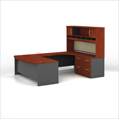 Bush C Series Right L-Shape Office Suite in Hansen Cherry