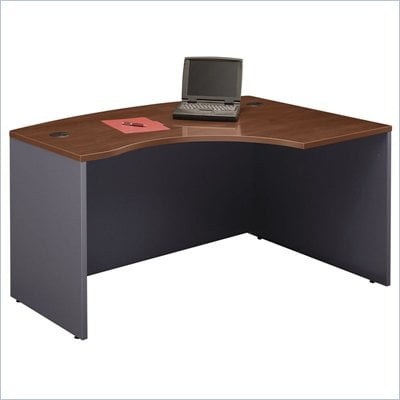Bush Series C Right L-Shape Bow Front Wood Desk in Hansen Cherry