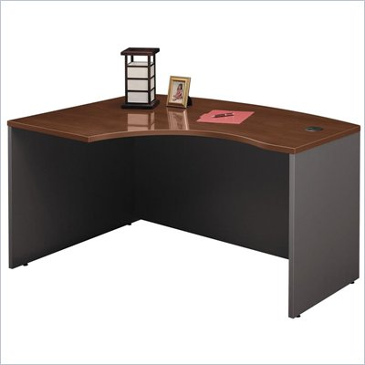 Bush Series C Corner Bow Front Wood Desk in Hansen Cherry