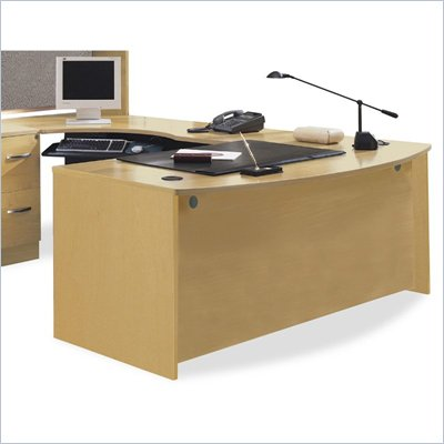 Bush Series C U-Shape Bow Front Wood Desk with Left Corner Module in Light Oak