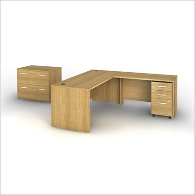 Bush Series C L-Shape Wood Office Desk in Light Oak