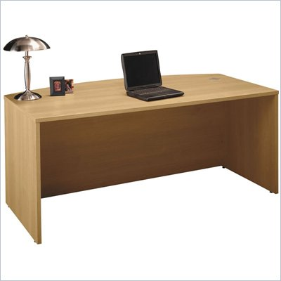 Bush Series C 71&quot; Bow Front Wood Executive Desk in Light Oak