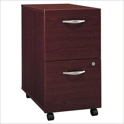 Bush Series C 2 Drawer Vertical Wood Mobile File Cabinet in Mahogany
