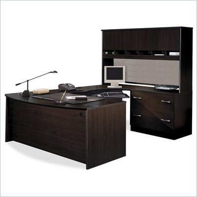 Bush Corsa Series U-Shape Wood Corner Desk with Hutch in Mocha Cherry