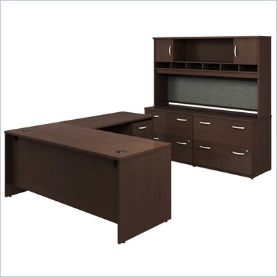 Bush Corsa Series L-Shaped Desk Office Set in Mocha Cherry