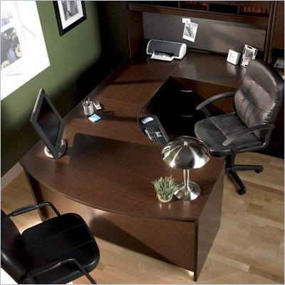 Bush Mocha Cherry Corsa U-Shaped L-Bow Desk with Hutch
