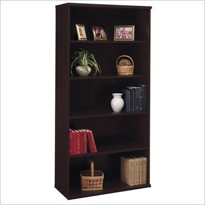 Bush Series C Open 5 Shelf Double Wood Bookcase in Mocha Cherry