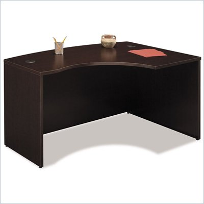Bush Series C Right L-Shape Bow Front Wood Desk in Mocha Cherry