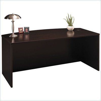 "Bush C Series 71"" Bow Front Executive Desk in Mocha Cherry"