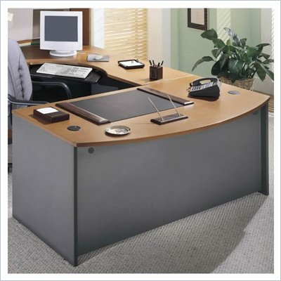 Bush Series C Right L-Shape Wood Executive Desk in Natural Cherry