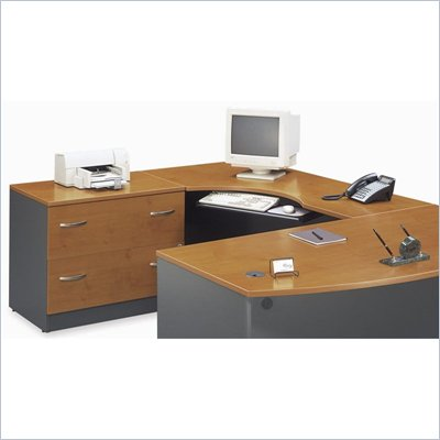 Bush Series C Left L-Shape Wood Desk in Natural Cherry