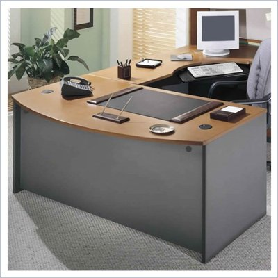 Bush Corsa Series L-Shaped Desk and File in Natural Cherry