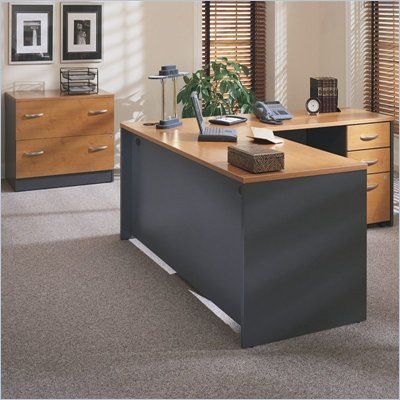 Bush Corsa Series Right L-Shape Office Suite in Natural Cherry