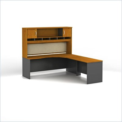 Bush Series C Natural Cherry L-Shaped Desk with Hutch Configuration