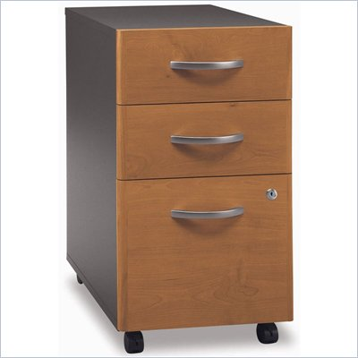 Bush Series C 3 Drawer Vertical Mobile Wood File Cabinet in Natural Cherry