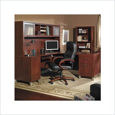 Bush Somerset  L-Shaped Wood Home Office Desk Set in Hansen Cherry