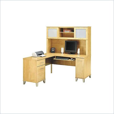 Bush Somerset L-Shape Wood Computer Desk With Hutch in Maple Cross
