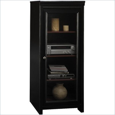 Bush Stanford Audio Cabinet with 2 Adjustable Shelves, Glass Door, in Black and Cherry