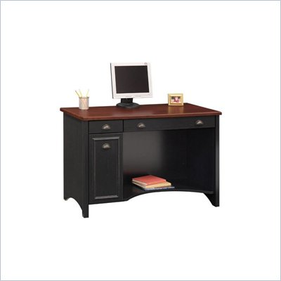 "Bush Stanford 48"" W Wood Computer Desk in Antique Black"