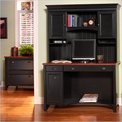 "Bush Stanford 48"" Wood Computer Desk with Hutch and File Cabinet in Antique Black and Hansen Cherry"