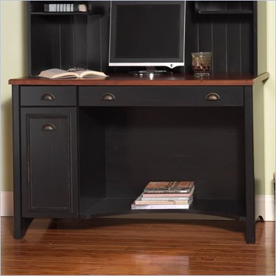 Bush Stanford 48&quot; Wood Computer Desk with Lateral File Cabinet in Antique Black and Hansen Cherry