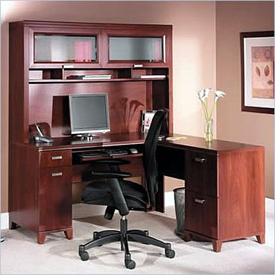 Bush Tuxedo L Desk Home Office Set with Hutch in Hansen Cherry Finish