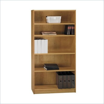 Bush Universal 72&quot;H 5 Shelf Wood Bookcase in Snow Maple