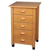 Venture Horizon 5 Drawer Mobile Wood Filing Cabinet in Oak Finish