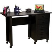 Venture Horizon Mobile Wood Computer Desk in Black