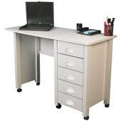 Venture Horizon Mobile Wood Computer Desk in White